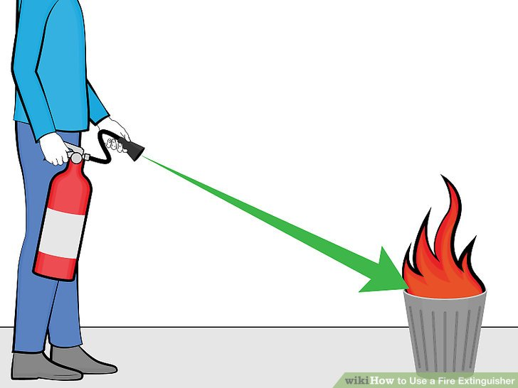 Safety precaution while using a fire extinguisher